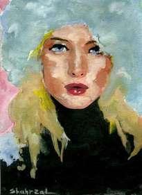 russian girl in ushanka ,watercolor by shahrzad ranji