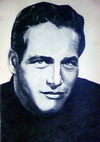 retrato a lápiz de paul newman