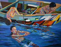 niños en la barca