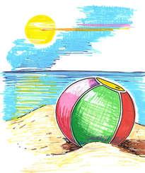 la pelota en la playa