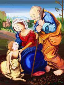sagrada familia con un cordero