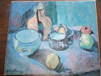 reproduccion los platos y frutas, óleo sobre lienzo de henri matisse