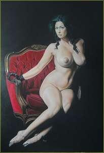 desnudo en silla roja