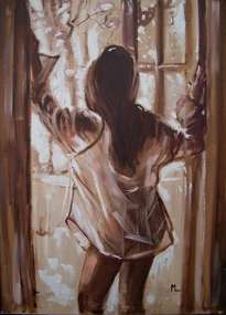 in your shirt...  - original oil painting on canvas, gift