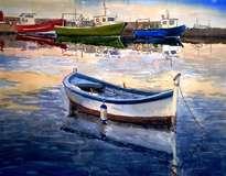 barca en el puerto