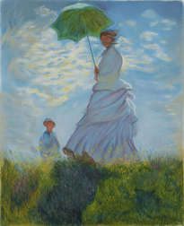 mujer con sombrilla y niño. monet. interpretación. woman with parasol and child