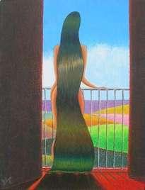 mujer asomada al balcón