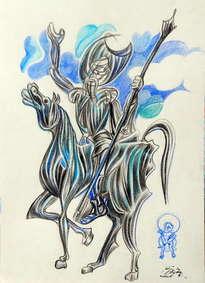 don quijote y sancho azul