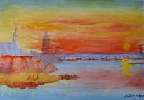 la puesta del sol escarlata