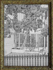 patio de mojácar con 2 árboles