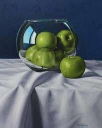 manzanas verdes sobre fondo azul