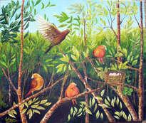 paraíso de pájaros en las ramas