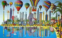 Hot air balloons on the skyline of tel aviv city naive art paintings folk naife painting