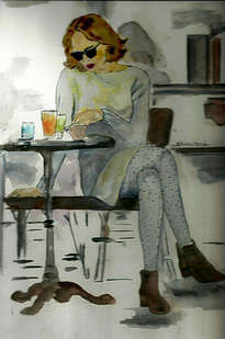 coffee house, watercolor by shahrzad ranji