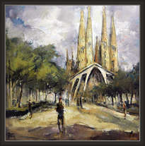 paisaje-barcelona-sagrada familia-monumentos-modernistas-modernismo-pintura-cuadros-pintor-ernest descals