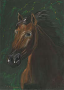 brown horse portrait on green velvet
