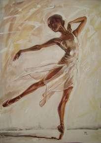 butterfly large 100x70cm ballerina brown light original oil painting, gift,
