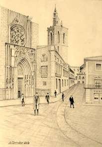 puerta de los apostoles catedral de valencia y miguelete años 30