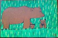 un oso con sus oseznos