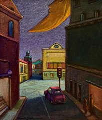luna amarilla sobre la ciudad - ( listo para colgar )