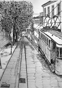 calle de lisboa con tranvía