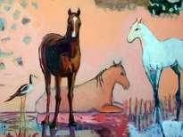 caballos en descanso