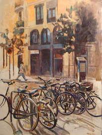 bicicletas en calle pintor fortuny. barcelona