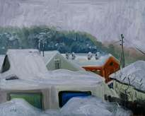 snowy winter. (solikamsk). oil on cardboard, 40-50, 1970