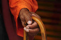 mano de sadhu con baston