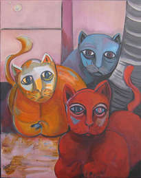 gatos bajo la luna