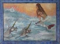 sirena y unicornios en el mar