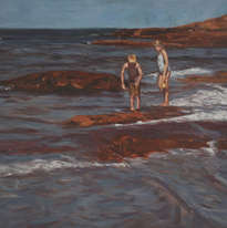 niños en las rocas