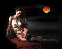 mujer a la luz de la luna