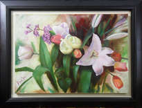 lilies, tulips and stocks