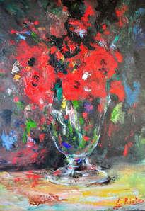 florero en copa de cristal
