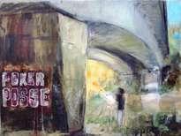 pintor bajo puente y graffiti.