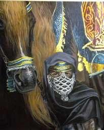mujer árabe y su caballo