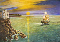 sea landscape with sailing ship and castle