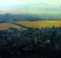 ciutat daurada - acrílico / tabla - 160 x 160