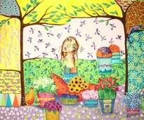 vendedora de flores y pájaros