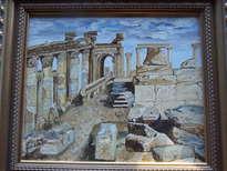 ruinas griegas con relieve sobre lienzo de cuero blanco impresionista
