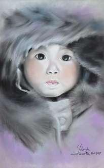 retrato a pastel pequeña esquimal
