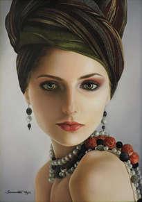 perlas y turbante