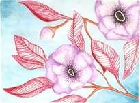 flores violetas y hojas granates