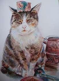 portrait cat with hat