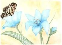 flores azules con mariposa