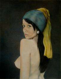 nude girl with a pearl earring
