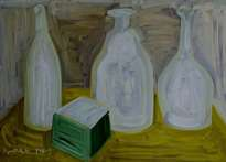 glass utensils. oil on cardboard, 35-49, 1969