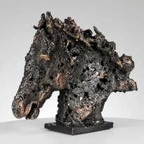 Caballo Barba VII - acero bronce caballo cabeza de metal escultura Animal