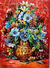 bouquet de flores en una vasija  americana
